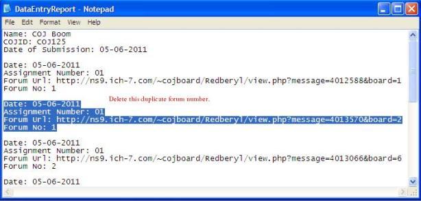 Delete duplicate forum numbers